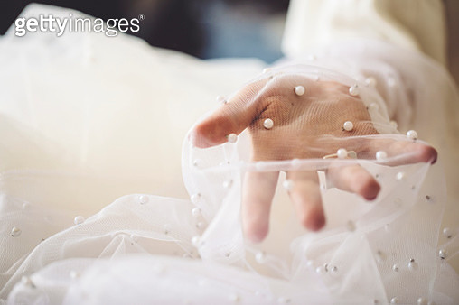 Fashion designer is working with veil - gettyimageskorea