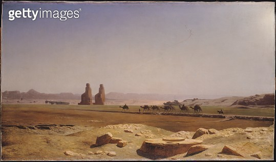 <b>Title</b> : The Plain of Thebes in Upper Egypt, 1857 (oil on canvas)<br><b>Medium</b> : oil on canvas<br><b>Location</b> : Musee des Beaux-Arts, Nantes, France<br> - gettyimageskorea