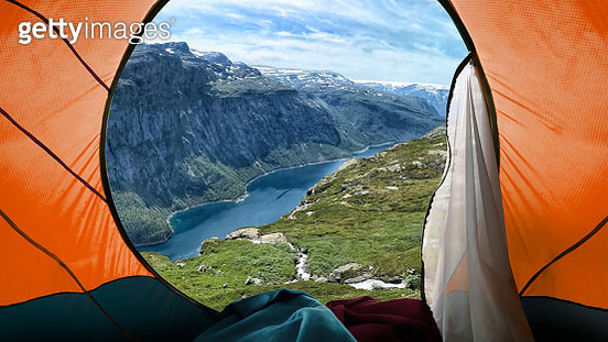 Camping on mountains - gettyimageskorea