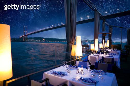 Luxurious restaurant or nightclub in Bosporus Istanbul Turkey - gettyimageskorea