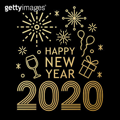 Join the celebration party for the New Year 2020 with gold colored outline symbols of wineglass, gift box, balloons, star and fireworks - gettyimageskorea