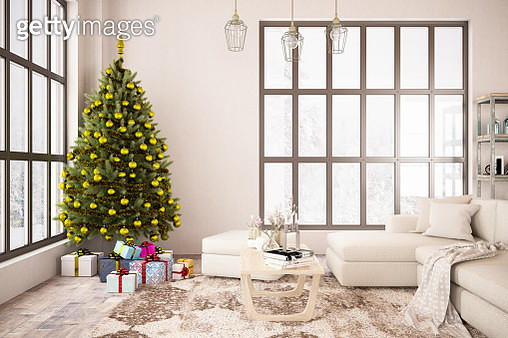 Interior with Christmas Tree and Gifts. 2019 New Year Concept - gettyimageskorea