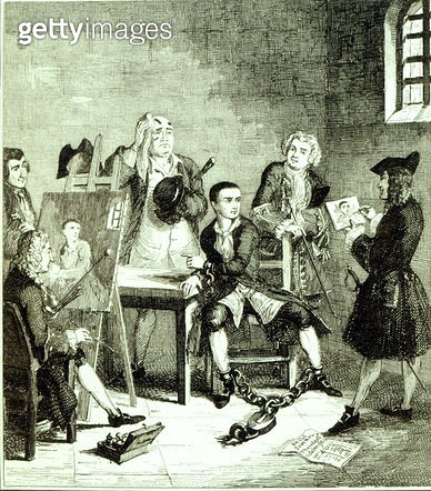 <b>Title</b> : Jack in Newgate Ward having portraits taken by Sir James Thornhill & William Hogarth, illustration from 'Jack Sheppard: A Romanc<br><b>Medium</b> : etching<br><b>Location</b> : Private Collection<br> - gettyimageskorea
