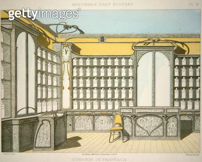 <b>Title</b> : Pharmacy interior, illustration from 'Menuiserie d'Art Nouveau' published c.1900 (colour litho)<br><b>Medium</b> : colour lithograph<br><b>Location</b> : Private Collection<br> - gettyimageskorea