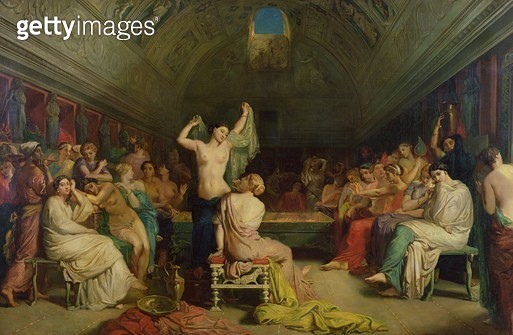 <b>Title</b> : The Tepidarium, 1853 (oil on canvas)<br><b>Medium</b> : oil on canvas<br><b>Location</b> : Musee d'Orsay, Paris, France<br> - gettyimageskorea