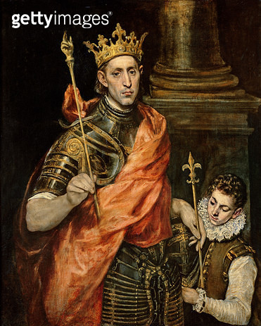 <b>Title</b> : St. Louis (1215-70) and his Page, c.1585-90 (oil on canvas)<br><b>Medium</b> : oil on canvas<br><b>Location</b> : Louvre, Paris, France<br> - gettyimageskorea