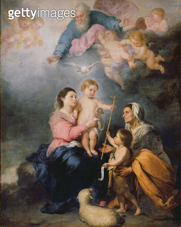 <b>Title</b> : The Holy Family or The Virgin of Seville (oil on canvas)<br><b>Medium</b> : oil on canvas<br><b>Location</b> : Louvre, Paris, France<br> - gettyimageskorea