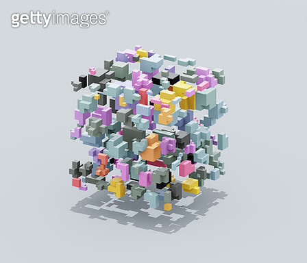 Floating block shapes forming a cube - gettyimageskorea