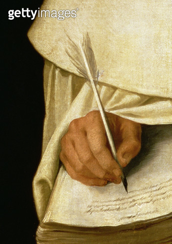 <b>Title</b> : Brother Pedro Machado (d.1604) (oil on canvas) (detail of 221122)<br><b>Medium</b> : oil on canvas<br><b>Location</b> : Real Academia de Bellas Artes de San Fernando, Madrid, Spain<br> - gettyimageskorea