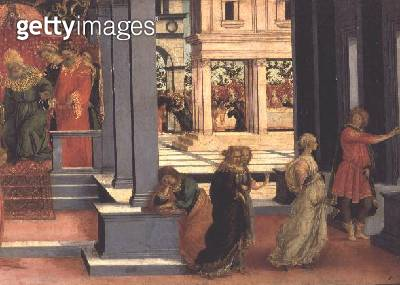<b>Title</b> : Esther Chosen by King Ahasuerus, detail of the right hand side depicting Queen Vashti sent from the Court, c.1475-80 (tempera on<br><b>Medium</b> : tempera on panel<br><b>Location</b> : Musee Conde, Chantilly, France<br> - gettyimageskorea