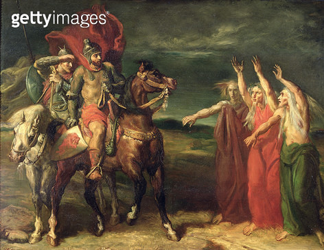 <b>Title</b> : Macbeth and the Three Witches, 1855 (oil on canvas)<br><b>Medium</b> : oil on canvas<br><b>Location</b> : Musee d'Orsay, Paris, France<br> - gettyimageskorea