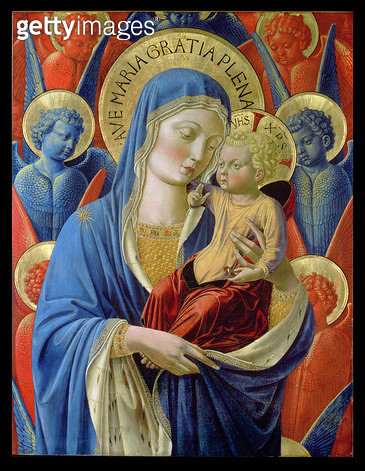 <b>Title</b> : Virgin and Child with Angels, c.1460 (gold leaf and tempera on wood panel)<br><b>Medium</b> : gold leaf and tempera on wood panel<br><b>Location</b> : The Detroit Institute of Arts, USA<br> - gettyimageskorea