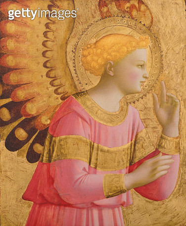 <b>Title</b> : Annunciatory Angel, 1450-55 (gold leaf and tempera on wood panel) (see also 139312)<br><b>Medium</b> : gold leaf and tempera on wood panel<br><b>Location</b> : The Detroit Institute of Arts, USA<br> - gettyimageskorea