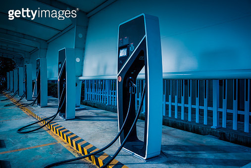 electric car charging station in Wuxi,China. - gettyimageskorea