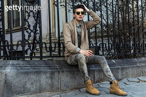 Handsome man in a city street - gettyimageskorea