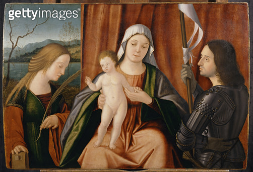 <b>Title</b> : Madonna and Child with Saints Catherine of Alexandria and either George or Liberale (oil on panel)<br><b>Medium</b> : oil on panel<br><b>Location</b> : Private Collection<br> - gettyimageskorea