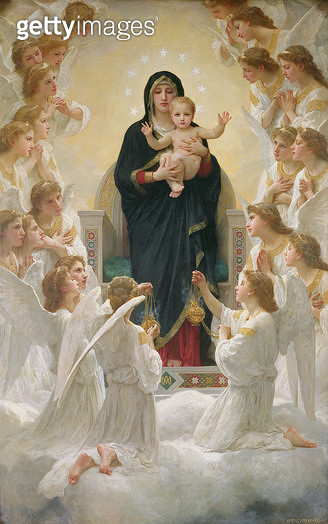 <b>Title</b> : The Virgin with Angels, 1900 (oil on canvas)<br><b>Medium</b> : oil on canvas<br><b>Location</b> : Musee de la Ville de Paris, Musee du Petit-Palais, France<br> - gettyimageskorea