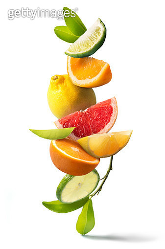 Assorted citrus fruits still life on white background. Close up view. - gettyimageskorea