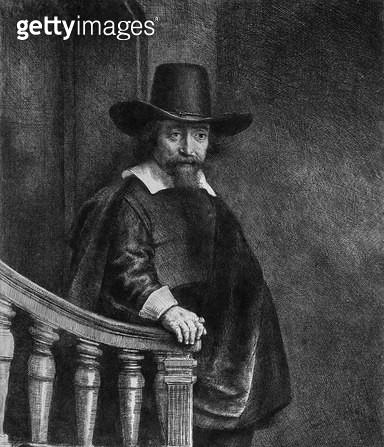 <b>Title</b> : Ephraim Bonus, known as 'The Jew with the Banister' 1647 (etching) (b/w photo)<br><b>Medium</b> : etching<br><b>Location</b> : Musee de la Ville de Paris, Musee du Petit-Palais, France<br> - gettyimageskorea