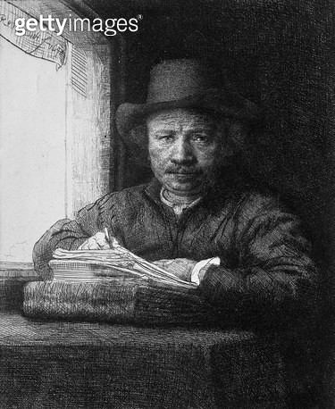 <b>Title</b> : Self portrait while drawing, 1648 (etching) (b/w photo)<br><b>Medium</b> : etching<br><b>Location</b> : Musee de la Ville de Paris, Musee du Petit-Palais, France<br> - gettyimageskorea