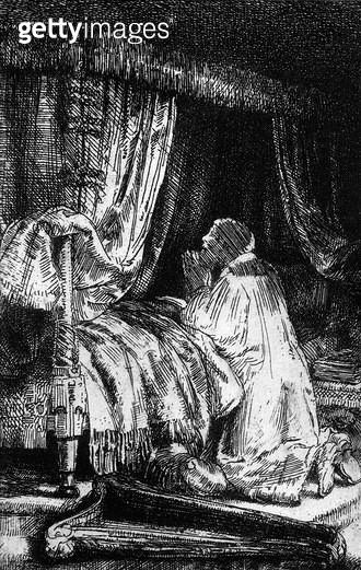 <b>Title</b> : King David at prayer, 1652 (etching) (b/w photo)<br><b>Medium</b> : etching<br><b>Location</b> : Musee de la Ville de Paris, Musee du Petit-Palais, France<br> - gettyimageskorea