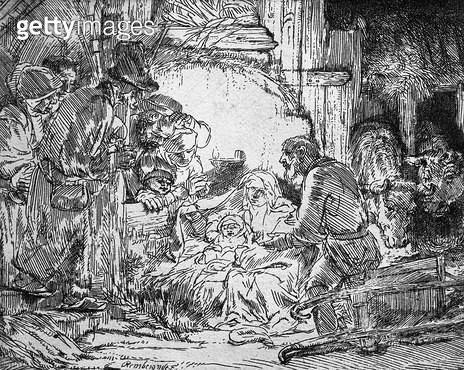 <b>Title</b> : Nativity, 1654 (etching) (b/w photo)<br><b>Medium</b> : etching<br><b>Location</b> : Musee de la Ville de Paris, Musee du Petit-Palais, France<br> - gettyimageskorea