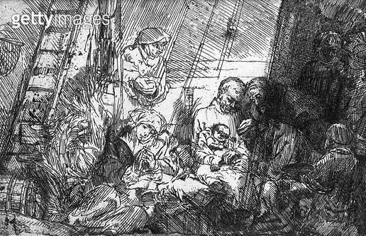 <b>Title</b> : The Circumcision, 1654 (etching) (b/w photo)<br><b>Medium</b> : etching<br><b>Location</b> : Musee de la Ville de Paris, Musee du Petit-Palais, France<br> - gettyimageskorea