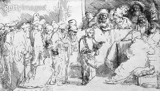 <b>Title</b> : Jesus Christ among the Doctors (etching) (b/w photo)<br><b>Medium</b> : etching<br><b>Location</b> : Musee de la Ville de Paris, Musee du Petit-Palais, France<br> - gettyimageskorea