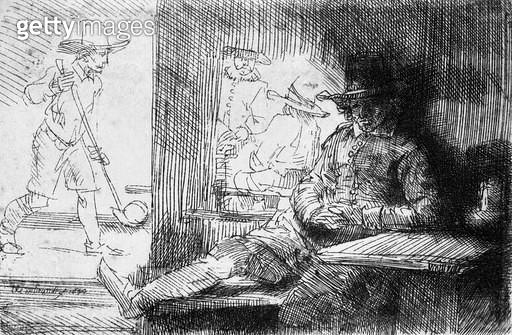 <b>Title</b> : Kolf game, 1654 (etching) (b/w photo)<br><b>Medium</b> : etching<br><b>Location</b> : Musee de la Ville de Paris, Musee du Petit-Palais, France<br> - gettyimageskorea
