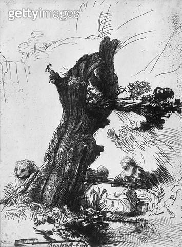 <b>Title</b> : St. Jerome Writing, 1648 (etching) (b/w photo)<br><b>Medium</b> : etching<br><b>Location</b> : Musee de la Ville de Paris, Musee du Petit-Palais, France<br> - gettyimageskorea