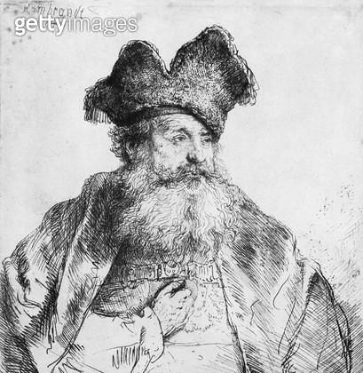 <b>Title</b> : Portrait of an old man (etching) (b/w photo)<br><b>Medium</b> : etching<br><b>Location</b> : Musee de la Ville de Paris, Musee du Petit-Palais, France<br> - gettyimageskorea