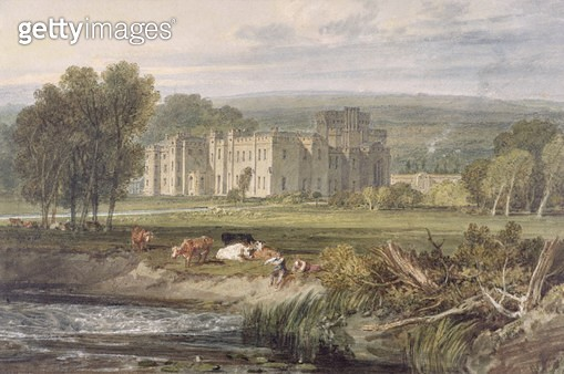 <b>Title</b> : View of Hampton Court, Herefordshire, from the south-east, c.1806 (w/c over graphite on wove paper)<br><b>Medium</b> : watercolour over graphite on wove paper<br><b>Location</b> : Yale Center for British Art, Paul Mellon Collection, USA<br> - gettyimageskorea