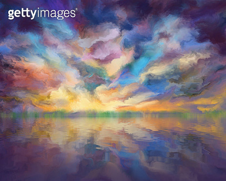 dramatic clouds reflected in the water, painting - gettyimageskorea