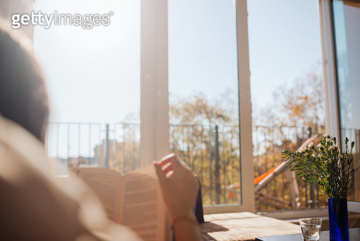 Woman reading in sunlight in an appartment. - gettyimageskorea