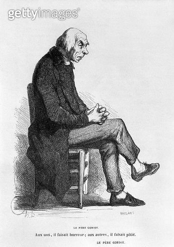 <b>Title</b> : Father Goriot, illustration from 'Le Pere Goriot' by Honore de Balzac (1799-1850) engraved by A. Baulant (fl.1840-50) (engraving) (b/w photo)<br><b>Medium</b> : engraving<br><b>Location</b> : Bibliotheque Nationale, Paris, France<br> - gettyimageskorea