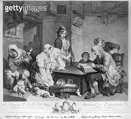 <b>Title</b> : The Reading of the Bible, engraved by Pieter Franciscus Martenisie or Martinasie (1729-89) 1759 (engraving)<br><b>Medium</b> : engraving<br><b>Location</b> : Bibliotheque Nationale, Paris, France<br> - gettyimageskorea
