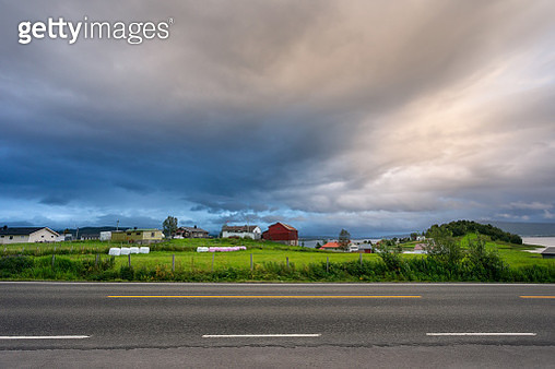 Norway rural landscape in rainy sunset - gettyimageskorea