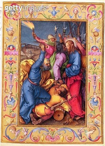 <b>Title</b> : Ms 39/1601 The Kiss of Judas, from 'Passio Domini Nostri Jesu Christi Secundum Joannem' (vellum)Additional InfoSimon Peter attac<br><b>Medium</b> : vellum<br><b>Location</b> : Musee Conde, Chantilly, France<br> - gettyimageskorea