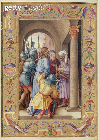 <b>Title</b> : Ms 39/1601 The Arrest of Christ, from 'Passio Domini Nostri Jesu Christi Secundum Joannem' (vellum)<br><b>Medium</b> : vellum<br><b>Location</b> : Musee Conde, Chantilly, France<br> - gettyimageskorea