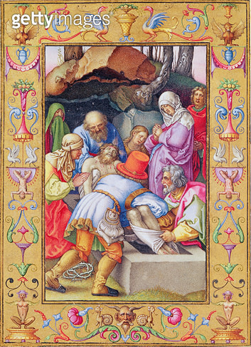 <b>Title</b> : Ms 39/1601 The Entombment, from 'Passio Domini Nostri Jesu Christi Secundum Joannem' (vellum)<br><b>Medium</b> : vellum<br><b>Location</b> : Musee Conde, Chantilly, France<br> - gettyimageskorea