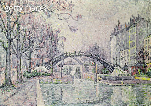 <b>Title</b> : The Canal Saint-Martin, 1933 (oil on canvas)<br><b>Medium</b> : oil on canvas<br><b>Location</b> : Private Collection<br> - gettyimageskorea