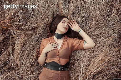 Directly Above View Of Young Woman Relaxing On Hay - gettyimageskorea