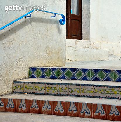 characteristic ceramic majolica staircase in Mazara del Vallo Sicily - gettyimageskorea