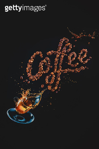 Coffee lettering made out of coffee beans with a flying espresso cup and coffee splash. Action food photography - gettyimageskorea