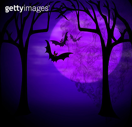 moon and smoked skull for celebrate Halloween - gettyimageskorea