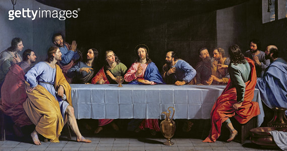 <b>Title</b> : The Last Supper, called 'The Little Last Supper' (oil on canvas)<br><b>Medium</b> : oil on canvas<br><b>Location</b> : Louvre, Paris, France<br> - gettyimageskorea