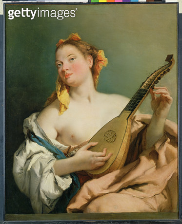 <b>Title</b> : Girl with a Mandolin, 1755-60 (oil on canvas)<br><b>Medium</b> : oil on canvas<br><b>Location</b> : The Detroit Institute of Arts, USA<br> - gettyimageskorea