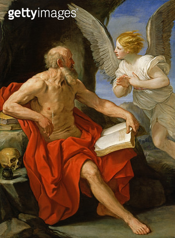 <b>Title</b> : Angel Appearing to St. Jerome, c.1640 (oil on canvas)<br><b>Medium</b> : oil on canvas<br><b>Location</b> : The Detroit Institute of Arts, USA<br> - gettyimageskorea