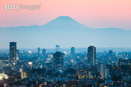 Mt. Fuji and Tokyo downtown at sunset. Tokyo, Japan - gettyimageskorea