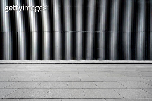 Empty Futuristic Architecture With Gray Floors And Silver Metal Line Wall - gettyimageskorea